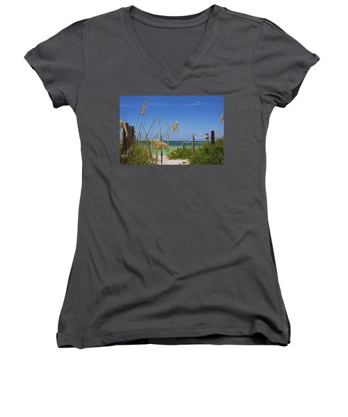 Women's V-Neck T-Shirt featuring the photograph Indulging In Memories by Michiale Schneider