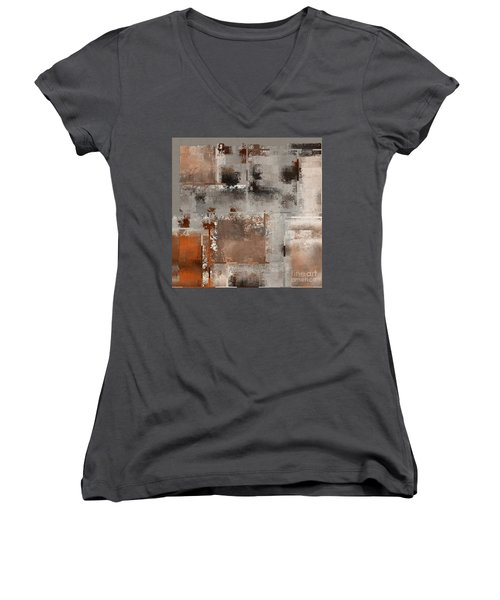 Industrial Abstract - 01t02 Women's V-Neck T-Shirt (Junior Cut) by Variance Collections
