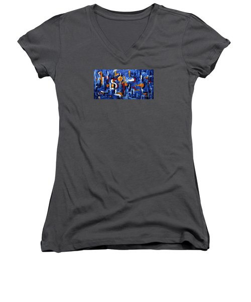 Women's V-Neck T-Shirt (Junior Cut) featuring the painting Industrial Abstract by Arturas Slapsys