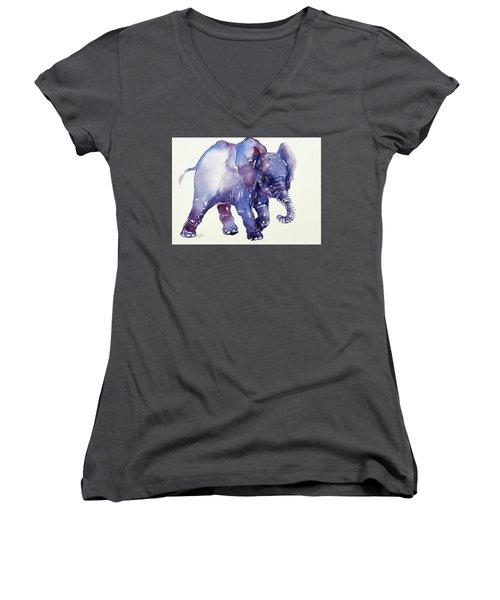 Inky Blue Elephant Women's V-Neck T-Shirt