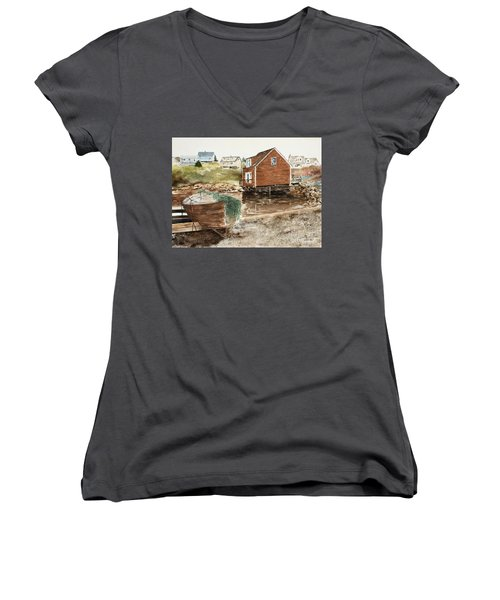 Inlet At Peggy's Cove Women's V-Neck (Athletic Fit)
