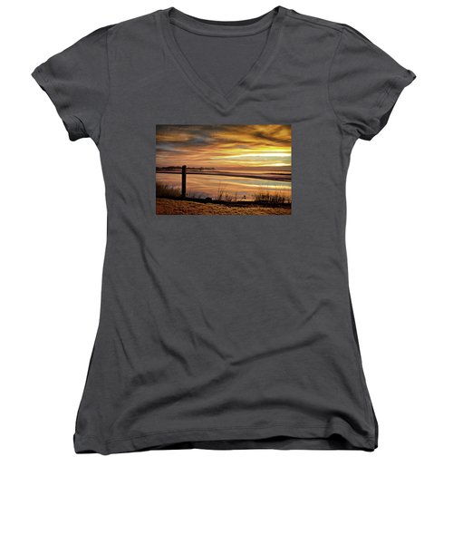 Inlet Watch At Dawn Women's V-Neck T-Shirt (Junior Cut) by Phil Mancuso