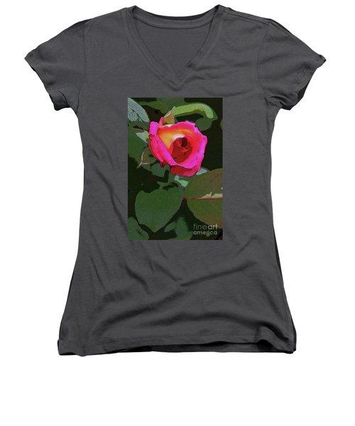 Inner Rose Women's V-Neck T-Shirt (Junior Cut) by Craig Wood