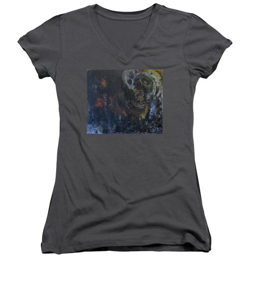 Women's V-Neck T-Shirt (Junior Cut) featuring the painting Innocence Lost by Christophe Ennis