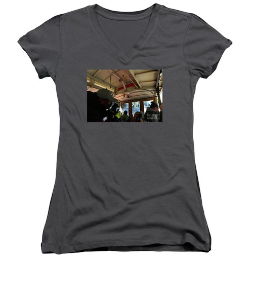 Women's V-Neck T-Shirt (Junior Cut) featuring the photograph Inside A Cable Car by Steven Spak
