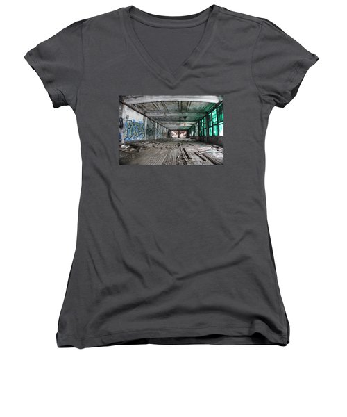 Inside Detroit Packard Plant  Women's V-Neck