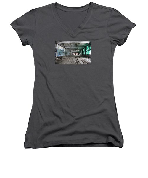 Inside Detroit Packard Plant  Women's V-Neck T-Shirt (Junior Cut)
