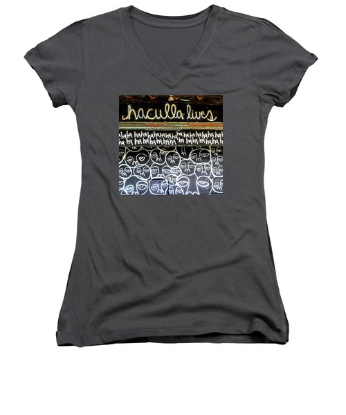 Women's V-Neck T-Shirt (Junior Cut) featuring the photograph Inside The Carousel House by Colleen Kammerer