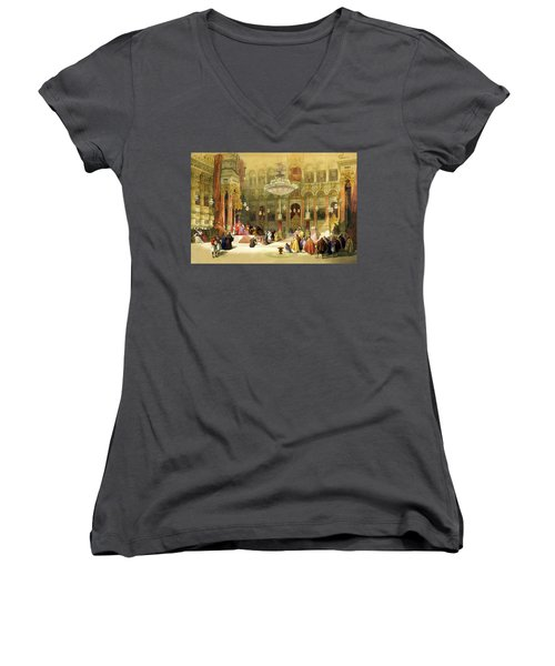 Inside The Church Of The Holy Sepulchre Women's V-Neck T-Shirt (Junior Cut) by Munir Alawi