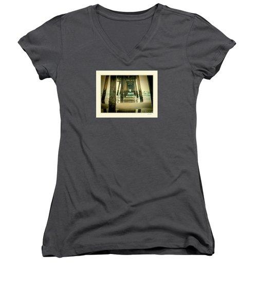 Women's V-Neck T-Shirt (Junior Cut) featuring the photograph Inside The Pier by Linda Olsen