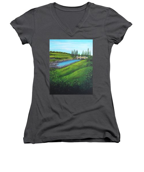 Inspiration In Mountain House Women's V-Neck (Athletic Fit)