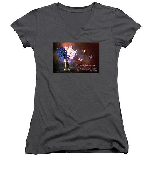 Inspirational Flower Art Women's V-Neck T-Shirt (Junior Cut) by Tina LeCour