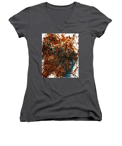 Intensive Abstract Expressionism Series 46.0710 Women's V-Neck T-Shirt (Junior Cut) by Kris Haas