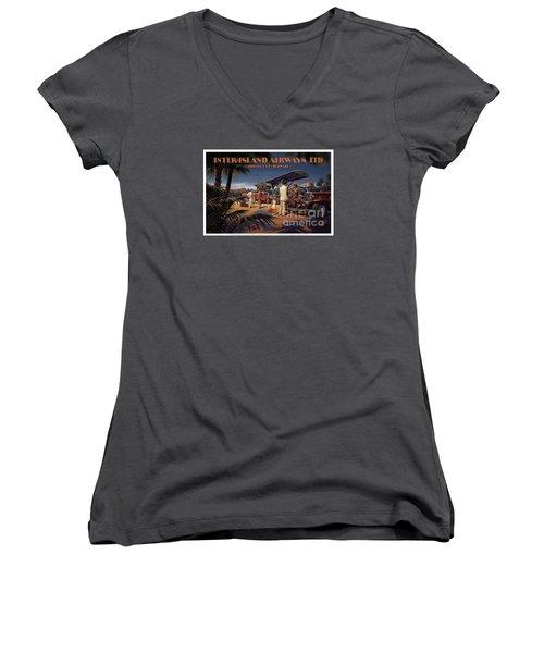 Inter Island Airways-honolulu Hawaii Women's V-Neck T-Shirt
