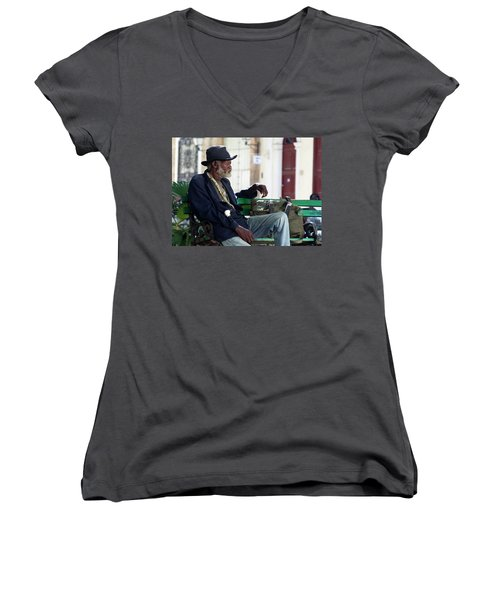 Interesting Cuban Gentleman In A Park On Obrapia Women's V-Neck T-Shirt (Junior Cut) by Charles Harden