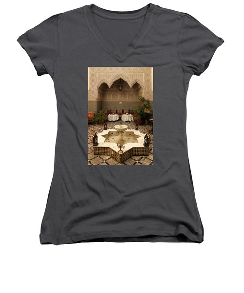 Interior Of A Traditional Riad In Fez Women's V-Neck T-Shirt (Junior Cut) by Ralph A  Ledergerber-Photography
