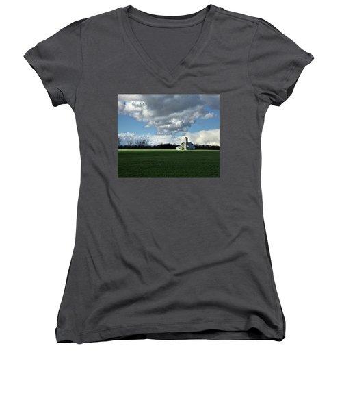 Women's V-Neck T-Shirt (Junior Cut) featuring the photograph Interlude by Robert Geary