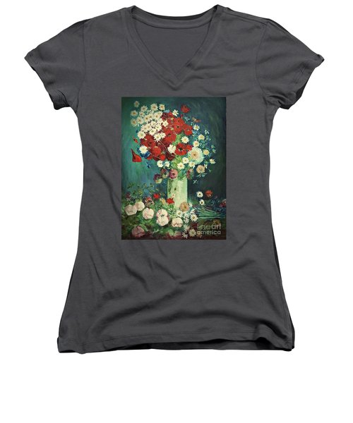 Interpretation Of Van Gogh Still Life With Meadow Flowers And Roses Women's V-Neck (Athletic Fit)
