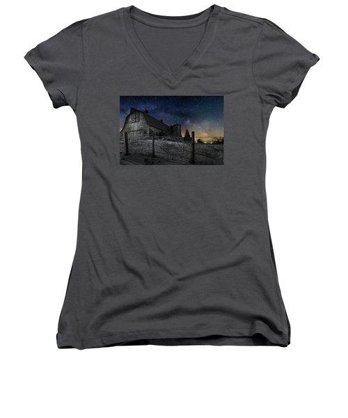 Women's V-Neck T-Shirt (Junior Cut) featuring the photograph Interstellar Farm by Bill Wakeley