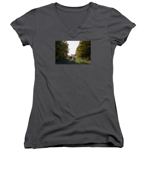 Into The Fields Women's V-Neck T-Shirt (Junior Cut) by Ellery Russell