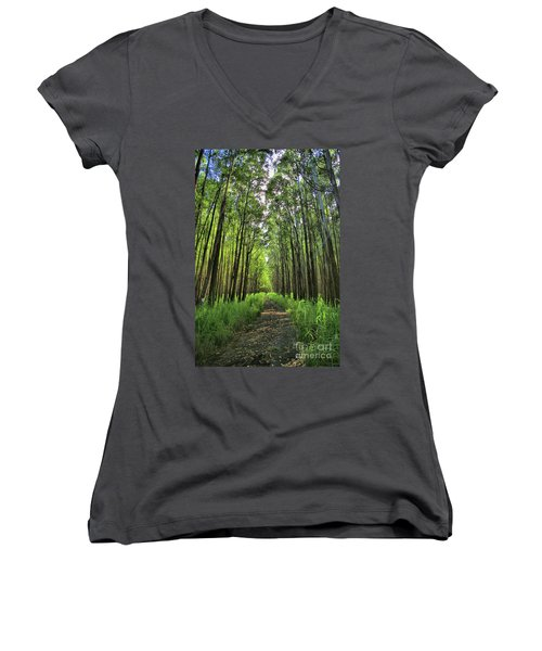 Women's V-Neck T-Shirt (Junior Cut) featuring the photograph Into The Forest by DJ Florek