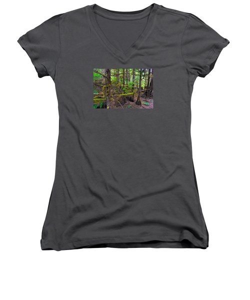 Women's V-Neck T-Shirt (Junior Cut) featuring the photograph Into The Forest by Lewis Mann