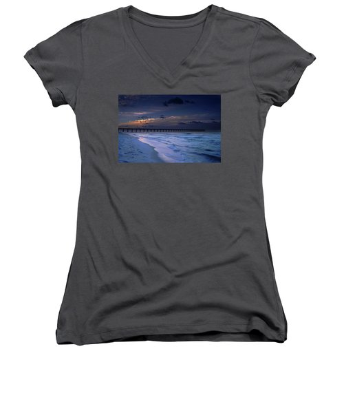 Women's V-Neck T-Shirt (Junior Cut) featuring the photograph Into The Night by Renee Hardison