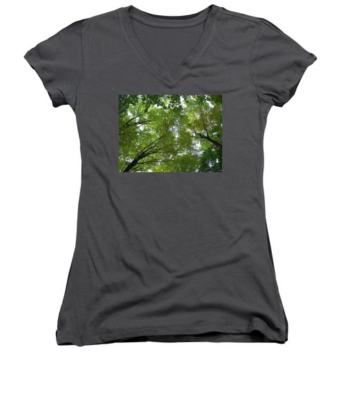 Women's V-Neck T-Shirt (Junior Cut) featuring the photograph Into The Trees by Michael  TMAD Finney