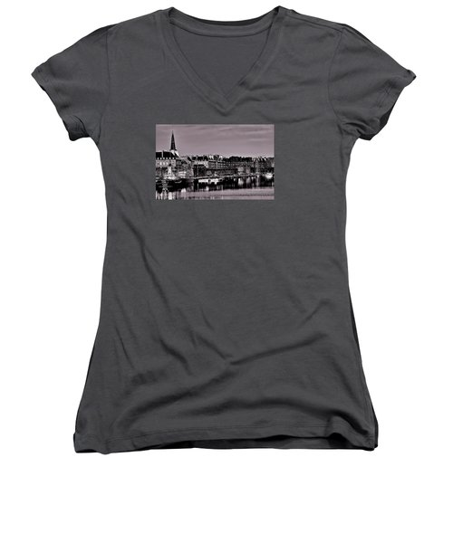 Women's V-Neck T-Shirt featuring the photograph Intra Muros At Night by Elf Evans