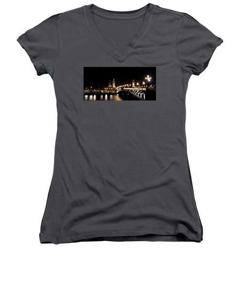 Women's V-Neck T-Shirt (Junior Cut) featuring the photograph Invalides At Night 1 by Andrew Fare