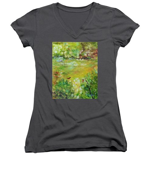 Women's V-Neck T-Shirt featuring the painting Invincible Spring by Judith Rhue