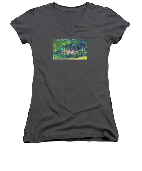 Women's V-Neck T-Shirt (Junior Cut) featuring the photograph Invitation Only by Susan Crossman Buscho