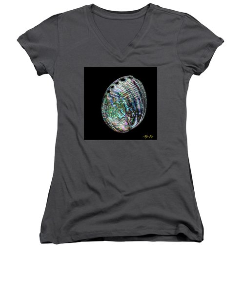 Women's V-Neck T-Shirt featuring the photograph Iridescence On The Half-shell by Rikk Flohr