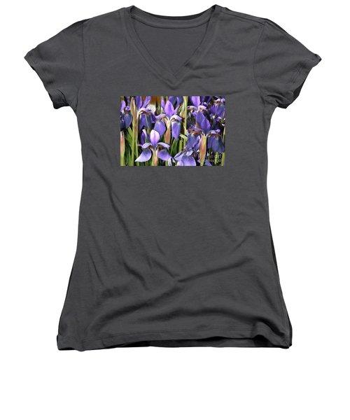 Women's V-Neck T-Shirt (Junior Cut) featuring the photograph Iris Fantasy by Benanne Stiens