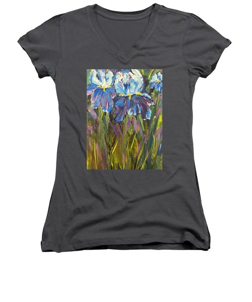 Iris Floral Garden Women's V-Neck (Athletic Fit)