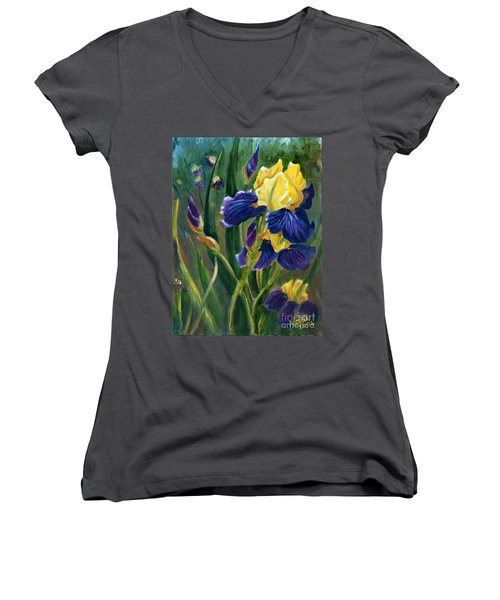 Women's V-Neck T-Shirt (Junior Cut) featuring the painting Iris by Renate Nadi Wesley