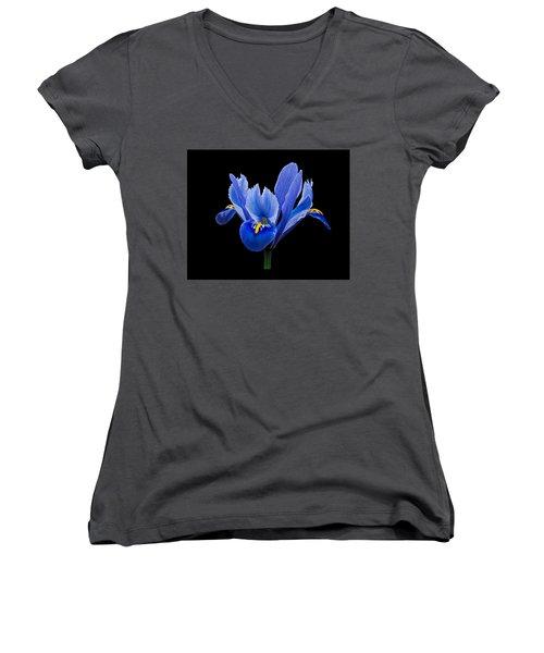 Women's V-Neck T-Shirt (Junior Cut) featuring the photograph Iris Reticulata, Black Background by Paul Gulliver