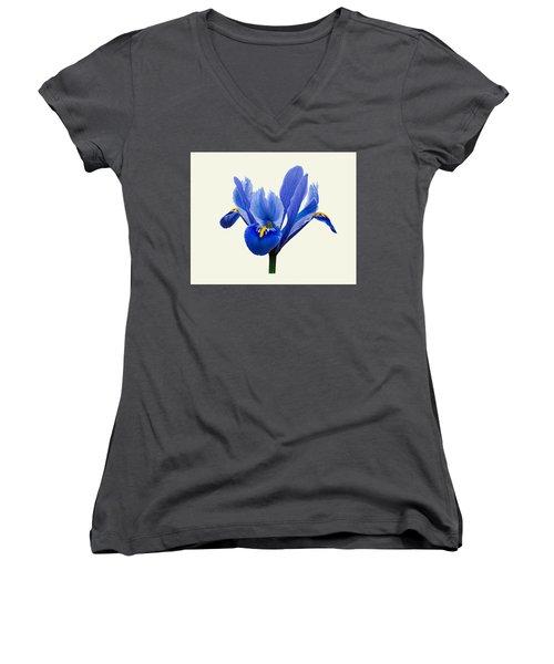 Women's V-Neck T-Shirt (Junior Cut) featuring the photograph Iris Reticulata, Cream Background by Paul Gulliver