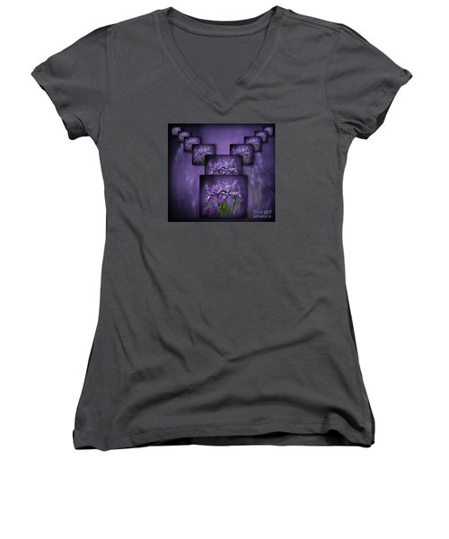 Iris Stack Women's V-Neck T-Shirt (Junior Cut) by Shirley Mangini