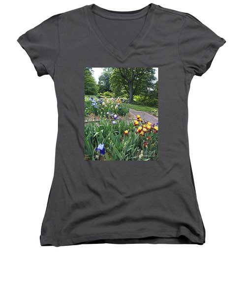 Women's V-Neck T-Shirt (Junior Cut) featuring the photograph Iris With Trees by Nancy Kane Chapman