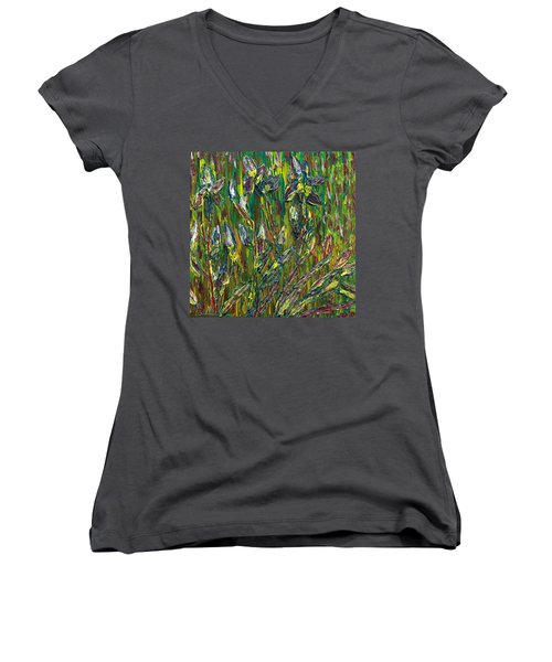 Irises Dance Women's V-Neck T-Shirt (Junior Cut) by Vadim Levin