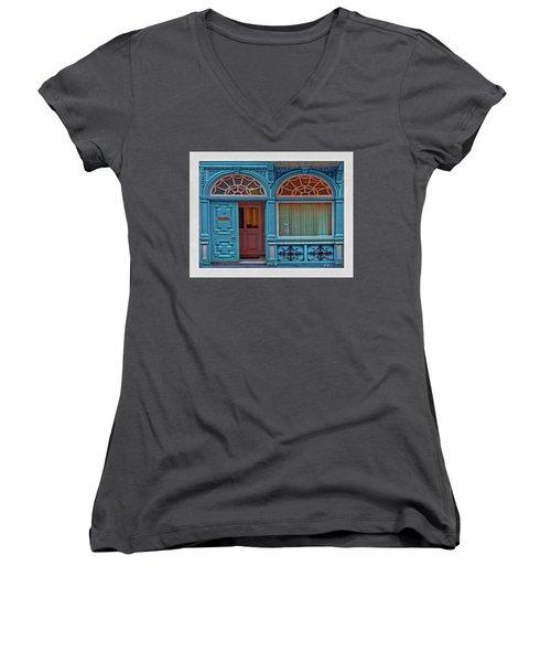Women's V-Neck T-Shirt featuring the digital art Irish Door by Hanny Heim