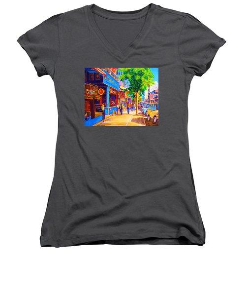 Women's V-Neck T-Shirt (Junior Cut) featuring the painting Irish Pub On Crescent Street by Carole Spandau