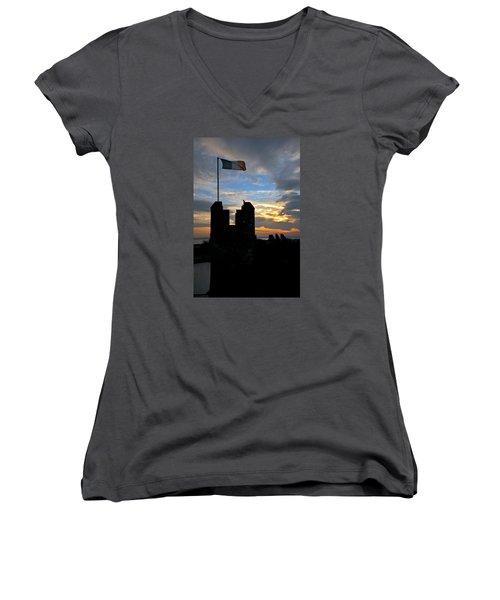 Irish Sunset Over Ramparts 1 Women's V-Neck