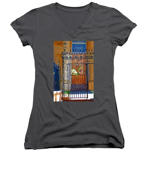 Women's V-Neck T-Shirt (Junior Cut) featuring the photograph Iron Gate by Donna Bentley