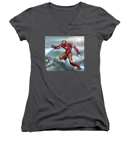 Iron Man Women's V-Neck (Athletic Fit)