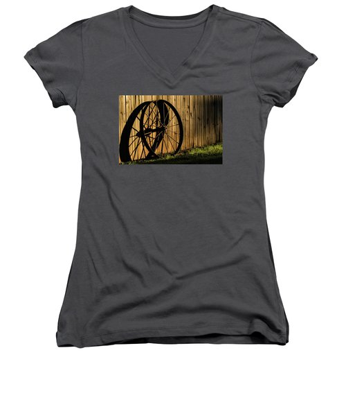 Iron Wheel Women's V-Neck T-Shirt (Junior Cut) by Jay Stockhaus