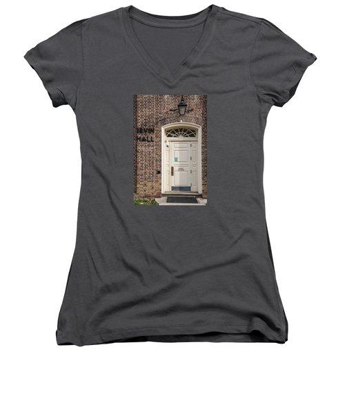 Irvin Hall Penn State  Women's V-Neck T-Shirt (Junior Cut) by John McGraw