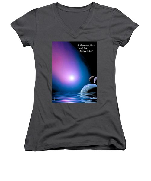 Is There Any Place God's Light Doesn't Shine? Women's V-Neck (Athletic Fit)