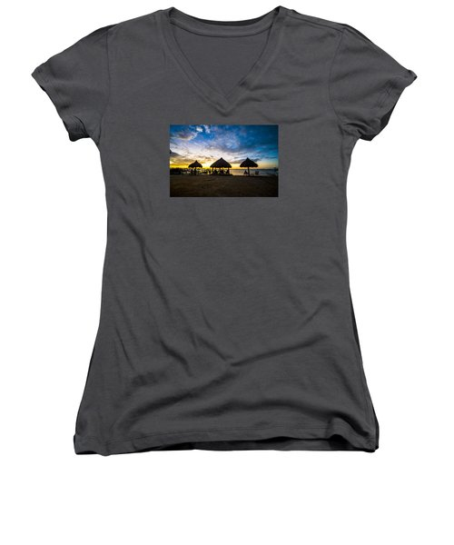 Island Huts Sunset Women's V-Neck (Athletic Fit)